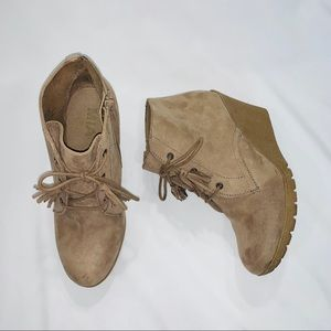 MIA Lace Up Wedge Booties - Almond